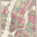 Antique Map Of New York City by Celestial Images