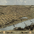 Antique Map Of Omaha Nebraska By A. Ruger - 1868 by Blue Monocle