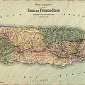 Antique Map Of Puerto Rico - 1886 by Blue Monocle