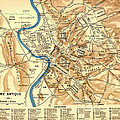Antique Map Of Rome During Antiquity 1870 by Mountain Dreams