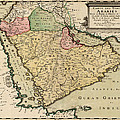 Antique Map Of Saudi Arabia And The Arabian Peninsula By Nicolas Sanson - 1654 by Blue Monocle