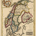 Antique Map Of Scandinavia By Fielding Lucas - Circa 1817 by Blue Monocle