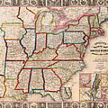 Antique Map Of The United States 1848 by Mountain Dreams