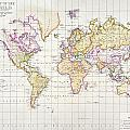 Antique Map Of The World by James The Elder Wyld
