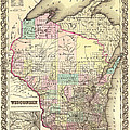 Antique Map Of Wisconsin 1855 by Mountain Dreams