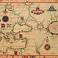 Antique Nautical Chart 1570 by Mountain Dreams