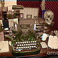 Antique Oliver Typewriter On Old West Physician Desk by Janice Rae Pariza
