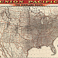 Antique Railroad Map Of The United States - Union Pacific - 1892 by Blue Monocle