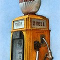 Antique Shell Gas Pump by Michelle Calkins