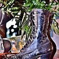Antique Victorian Boots At The Boardwalk Plaza Hotel - Rehoboth Beach Delaware by Kim Bemis