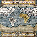 Antique World Map Circa 1570 by L Brown