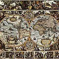 Antique World Map Circa 1670 II by L Brown