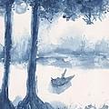 Antwerp Blue Landscape Watercolor by CheyAnne Sexton