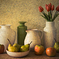 Apples Pears And Tulips by Jacqueline Hammer
