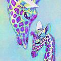 Aqua And Purple Loving Giraffes by Jane Schnetlage