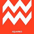 Aquarius Zodiac Sign White On Orange by Naxart Studio