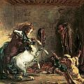 Arabian Horses Fighting In A Stable by Eugene Delacroix