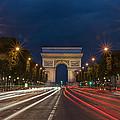 Arch De Triomphe And Avenue Des Champs Elysees Paris France by Ayhan Altun