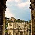 Arch Of Constantine Through The Colosseum by Pam  Elliott