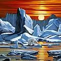 Arctic Sunset Polar Bear by Bob Patterson