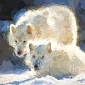 Arctic Wolves - Painterly by Les Palenik