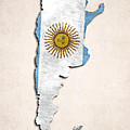 Argentina Map Art With Flag Design by World Art Prints And Designs
