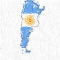 Argentina Painted Flag Map by Antony McAulay