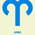 Aries Zodiac Sign Blue by Naxart Studio