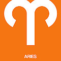 Aries Zodiac Sign White On Orange by Naxart Studio