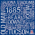 Arizona College Colors Subway Art by Replay Photos