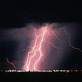 Arizona  Lightning Over City Lights by Anonymous