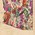 Arizona Map Vintage Watercolor by Florian Rodarte
