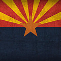 Arizona State Flag Art on Worn Canvas by Design Turnpike