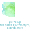 Arizona - The Grand Canyon State - Copper State - Map - State Phrase - Geology by Andee Design