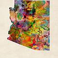 Arizona Watercolor Map by Michael Tompsett