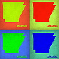 Arkansas Pop Art Map 1 by Naxart Studio
