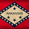 Arkansas State Flag Art On Worn Canvas by Design Turnpike