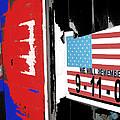 Art Homage Jasper Johns American Flag 9-11-01 Memorial Collage Barber Shop Eloy Az 2004-2012 by David Lee Guss