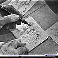 Art Homage Ted Degrazia Pen Ink Drawing On Camera Kvoa Tv Studio January 1966  by David Lee Guss