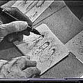Art Homage Ted Degrazia Pen Ink Drawing  On Camera Kvoa Tv Studio January 1966 Screen Capture by David Lee Guss