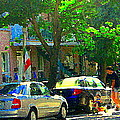 Art Of Montreal Day With Daddy And Yellow Wagon Zooming Our Streets Of Verdun Scene Carole Spandau  by Carole Spandau