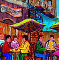 Art Of Montreal Enjoying A Pint At Ye Olde Orchard Irish Pub And Grill Monkland Village Cafe Scenes by Carole Spandau