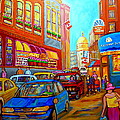 Art Of Montreal Summer Street Scenes Of Quebec With Caleche Near Cafes On Cobblestones Old Montreal by Carole Spandau