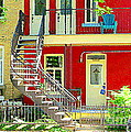 Art Of Montreal Upstairs Porch With Summer Chair Red Triplex In Verdun City Scene C Spandau by Carole Spandau