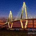 Arthur Ravenel Bridge At Evening  by Anthony Fishburne
