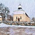 Artistic Presentation Of #svinnegarns #kyrka #church Of #svinnegarn March 2014 Viewed From The Parki by Leif Sohlman