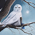 White Snow Owl Painting by Erback Art