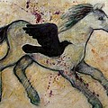 As The Crow Flies Impasto Horse by Carol Suzanne Niebuhr