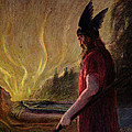 As The Flames Rise Odin Leaves by Hermann Hendrich