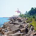 Ashtabula Lighthouse On Lake Erie by Karen Adams